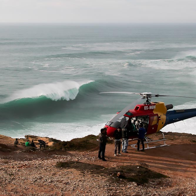 Nazaré Red Bull safety helicopter